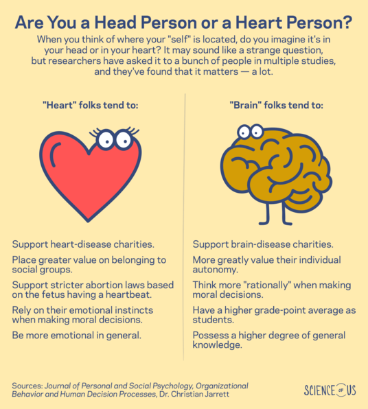 difference between heart and brain people