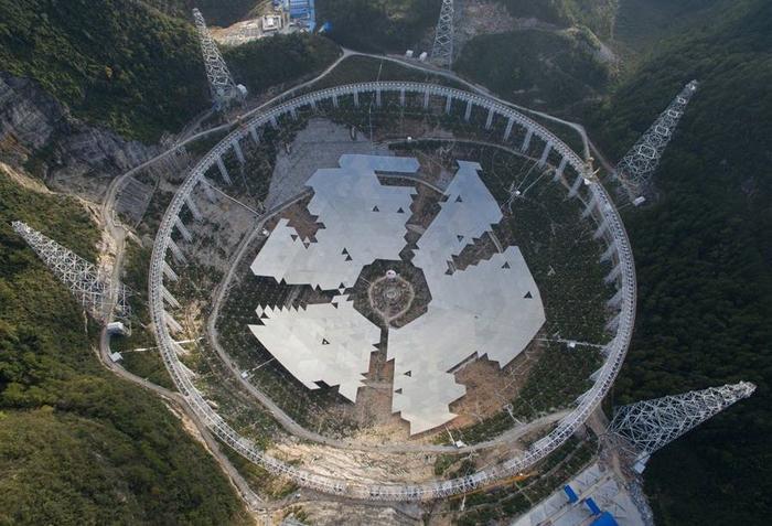 The 500 metre Aperture Spherical Telescope (FAST) under construction.