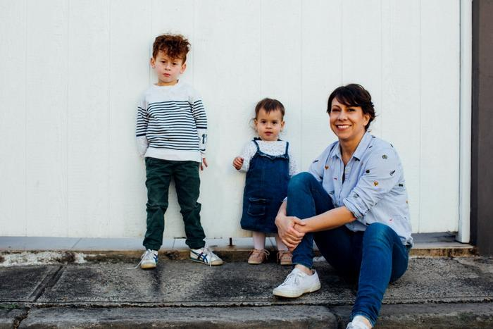Beck Feiner with son Levi and daughter Esme.