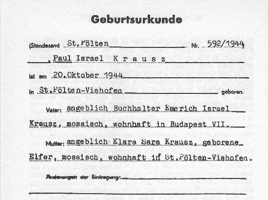 A small portion of Paul Kraus' German-issued birth certificate. Jewish people were issued with the middle name 'Israel' upon birth