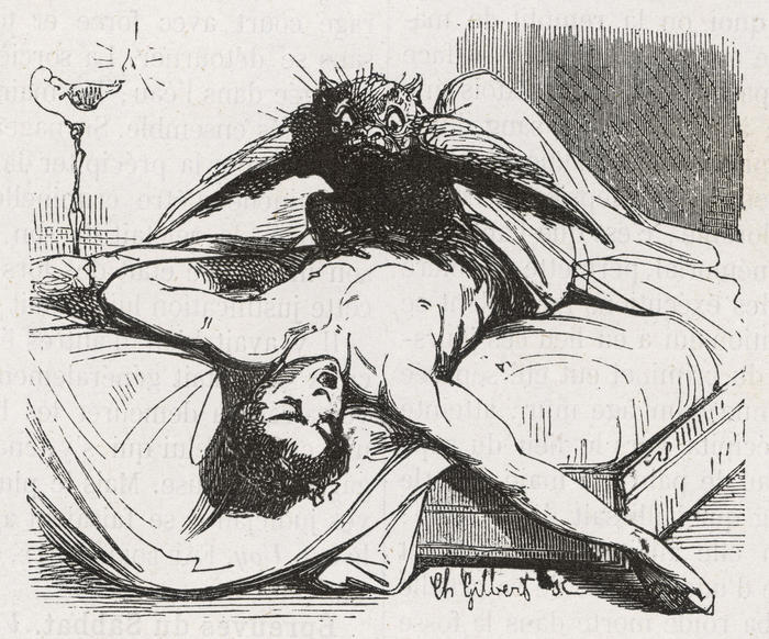 An incubus in the form of a bird perches upon its helpless victim, circa 1863.