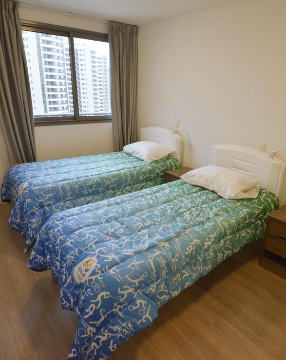 Photo taken June 23, 2016, shows the inside of a dormitory room for athletes taking part in the upcoming Rio de Janeiro Olympic and Paralympic games. Around 3,600 rooms in 31 newly constructed buildings will be provided. (Kyodo)==Kyodo