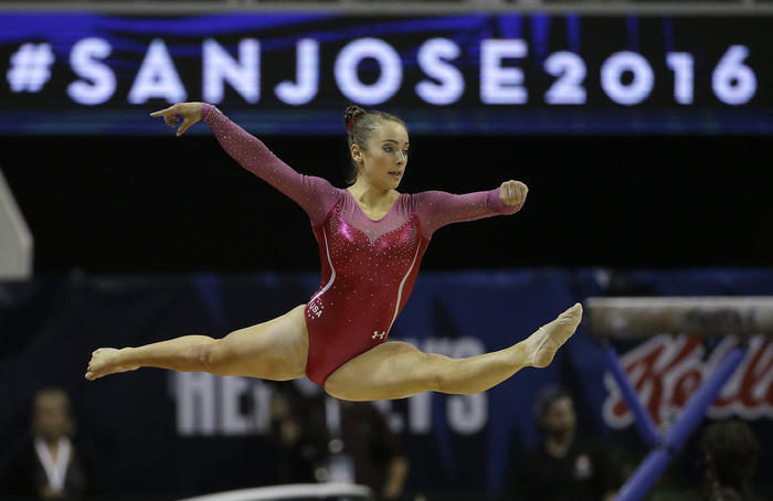 Christina Desiderio competes on the floor exercise during the women's U.S. Olympic gymnastics trials in San Jose, Calif., Friday, July 8, 2016. (AP Photo/Ben Margot)