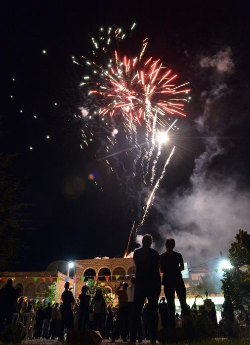 Fireworks illuminate the sky during the Festival held a day before Eid al Adha in Baakline, southeast of Beirut.
