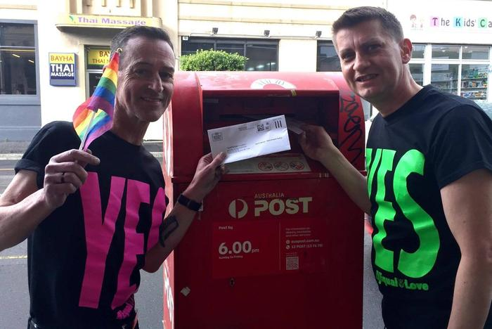 Antony (L) and Ron (R), posting their postal survey ballots this year.