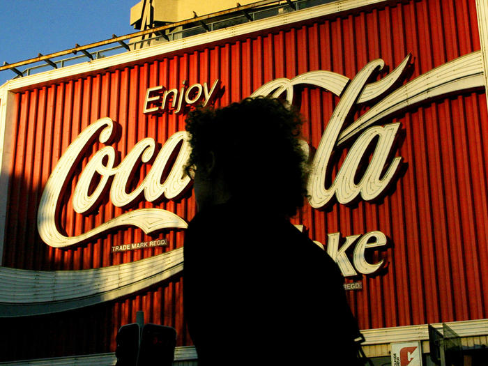 large sign advertising Coca Cola in Kings Cross, Sydney