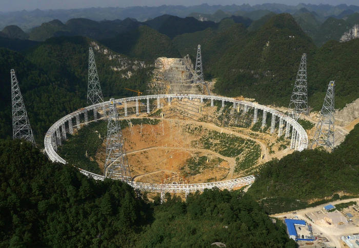 The 500 metre Aperture Spherical Telescope (FAST) under construction