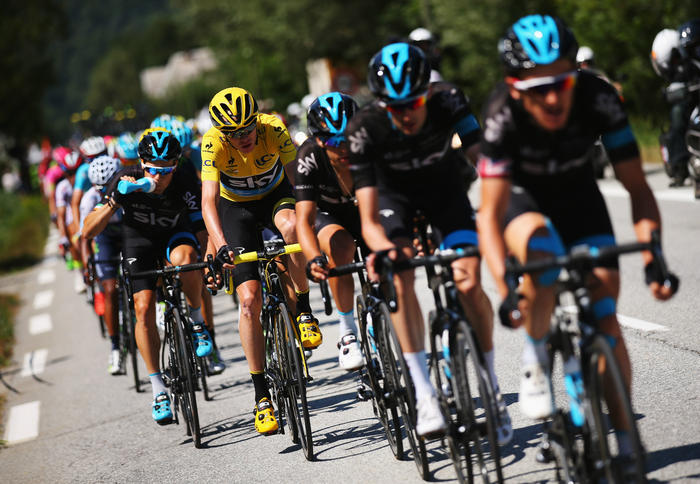 In good company... Expect maillot jaune Chris Froome to be chaperoned to Paris.