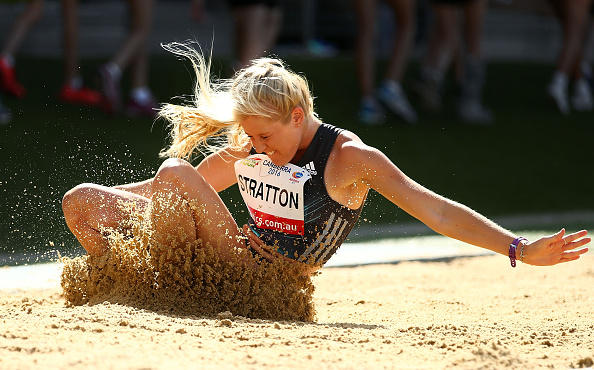 Brooke Stratton in long jump action