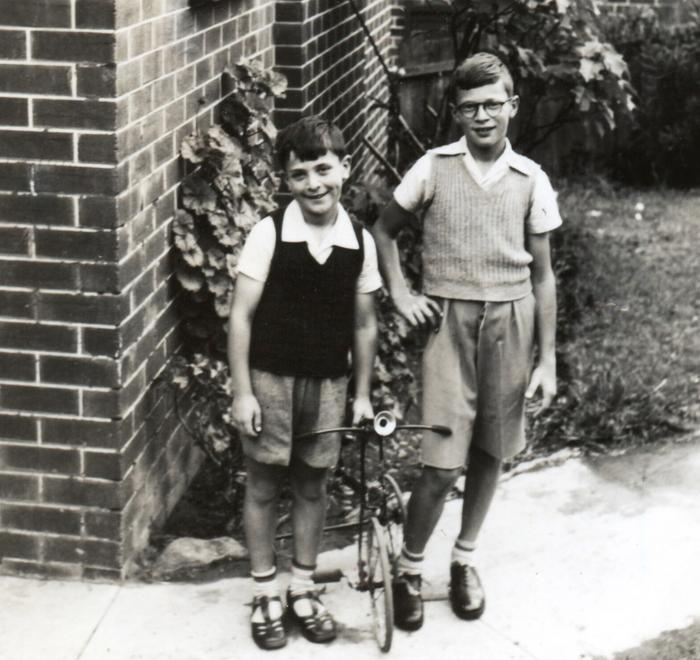 Image of Paul and Peter Kraus soon after arriving in Australia.