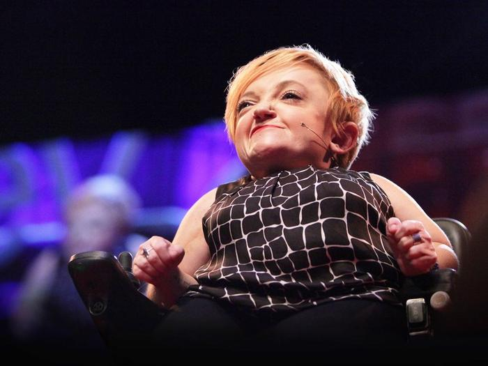 Stella Young delivers her 2014 TED talk, 'I'm not your inspiration, thank you very much'.