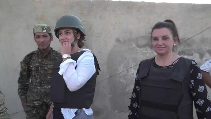 Sydney immigration lawyer Marina and Ms Lambie in Syria.
