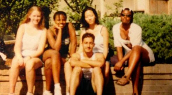 Adnan Syed, center, sits in front of Hae Min Lee during their high school days. (Photo courtesy of This American Life)