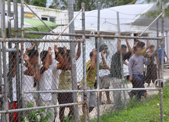 Asylum seekers in the Manus Island detention centre