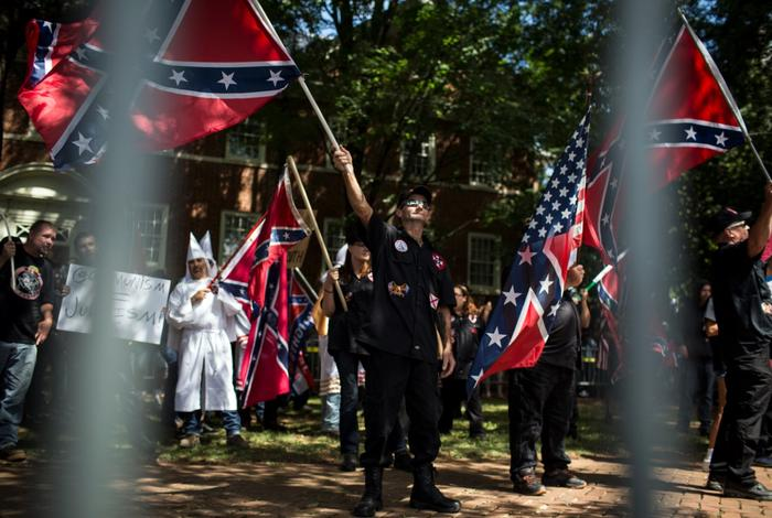 The Ku Klux Klan protests on July 8, 2017 in Charlottesville, Virginia (Getty)