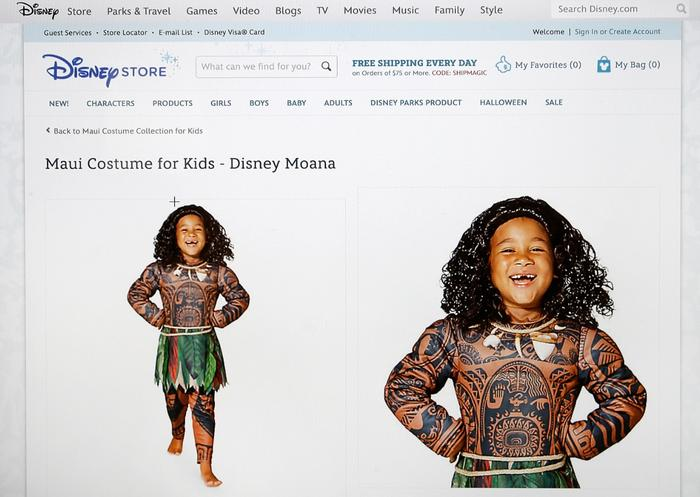 Disney was accused of cultural appropriation for selling a costume depicting Moana, the Polynesian protagonist of its new movie complete with brown skin and traditional Pacific tattoos.