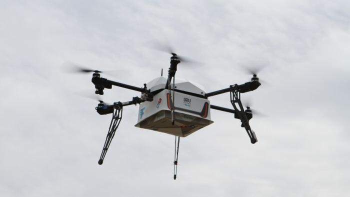 Flying robot pizza deliveries are now a thing.