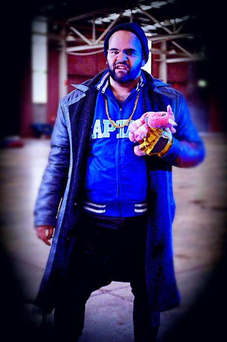 26-year-old Koori Cienan Muir is dressed as Captain Boomerang from Suicide Squad.