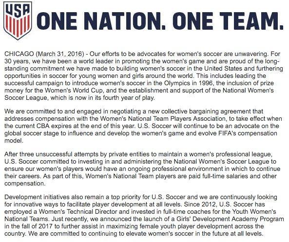 USWNT pay - US Soccer response