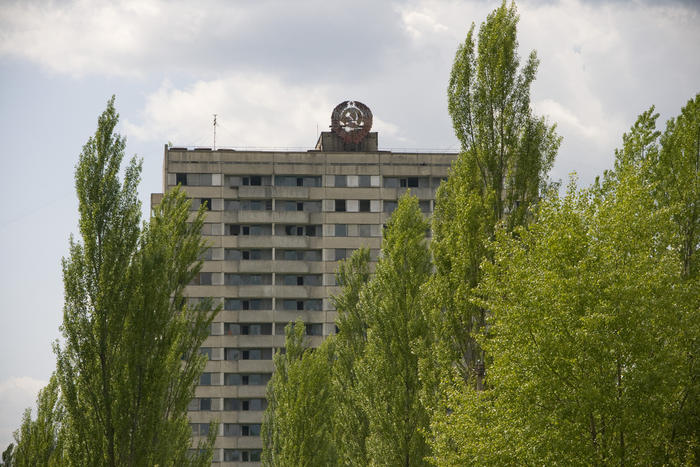 building and birch trees in chernobyl