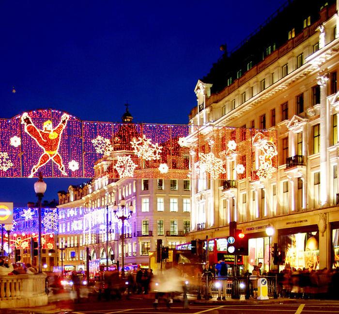Christmas lights on the streets in London illuminate the city's festive spirit.