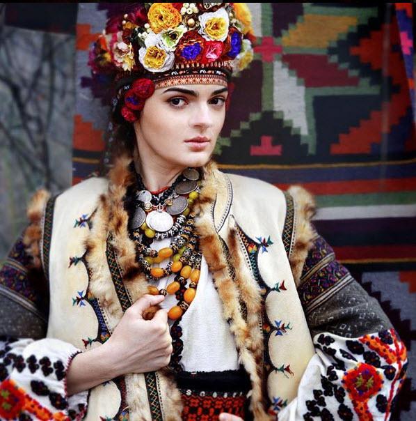 A woman wearing a vinok