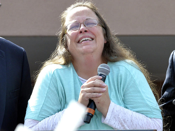 Kim Davis pauses as she speaks after being released from jail
