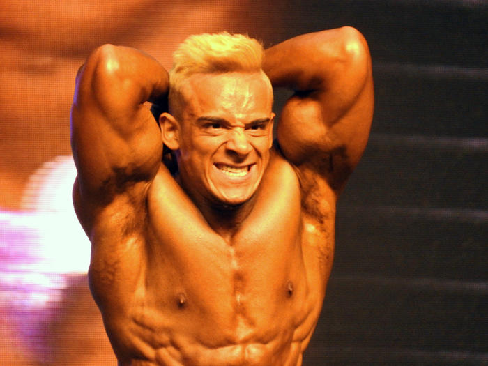 A bodybuilder at the Mr Olympia competition in Amman
