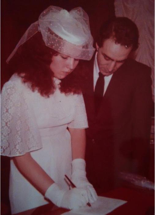 Elena Benmedjdoub in a civil wedding ceremony with her husband Azzeddine Benmedjdoub in Russia