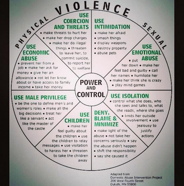 A domestic violence chart shared by Real Social Dynamics as a 'how-to' guide.