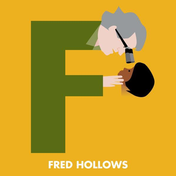 F is for Fred Hollows, from Beck Feiner's Aussie Legends Alphabet.