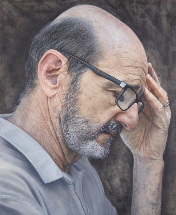 Kirsty Neilson's portrait of actor and comedian Garry McDonald is titled There's no humour in darkness.