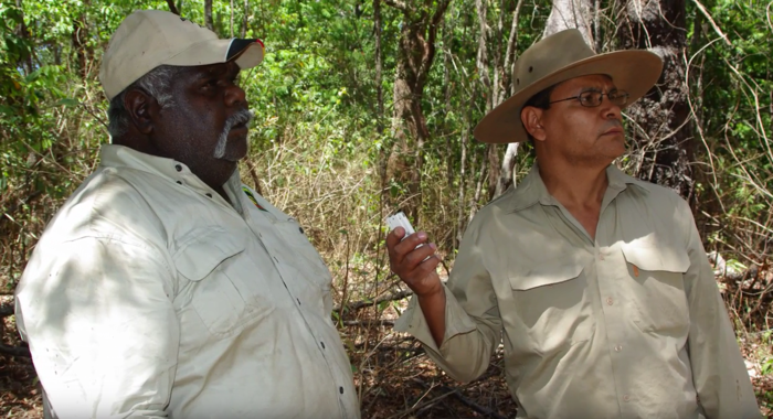 Gerry Turpin records the knowledge of an Aboriginal elder.