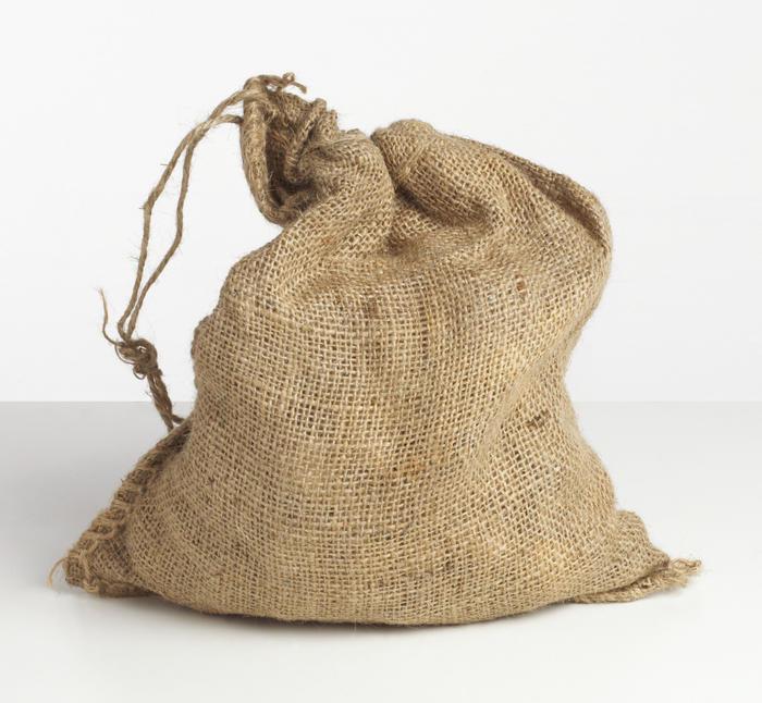 Small burlap sack tied at top