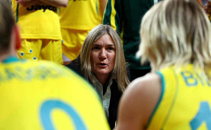 Carrie Graf coaching the Opals