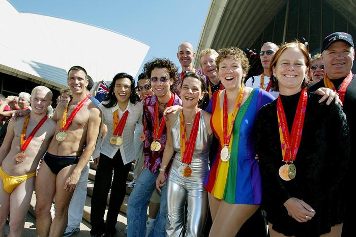 Medal winners from the 2002 Gay Games, gather on t