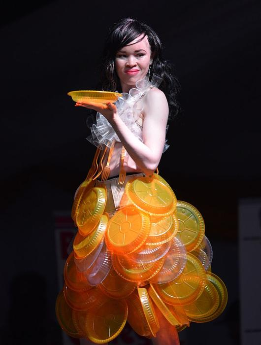 A model competes in the first albino beauty pageant