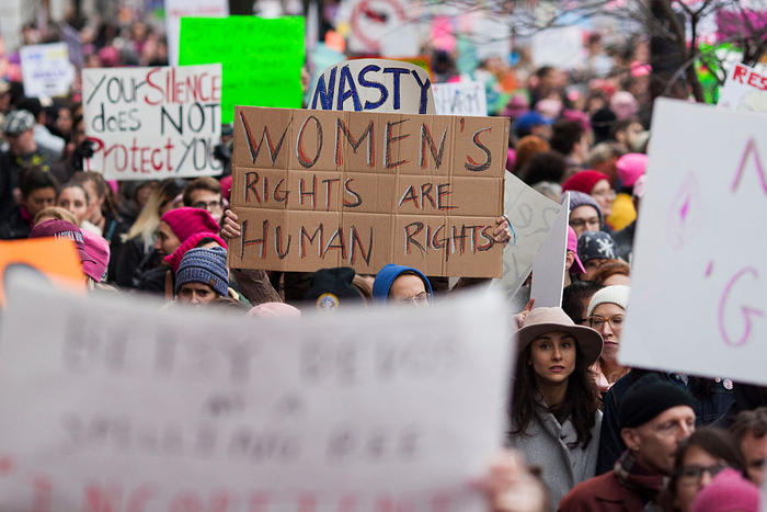 People protest in the streets at the Women's March on Washington on January 21, 2017 in Washington, DC.