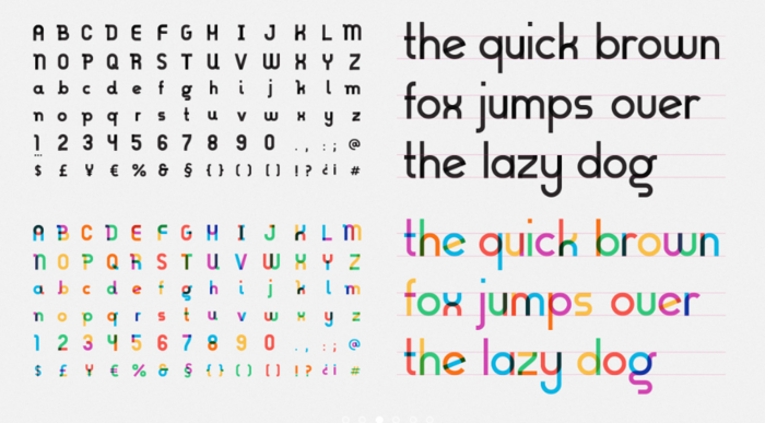 A screenshot of the 'Gilbert' font, in both traditional and colour opentype versions.