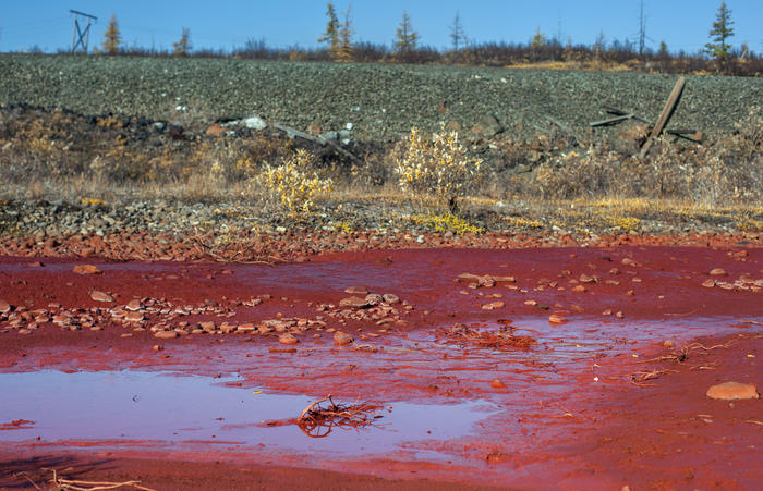 The Daldykan River in Russia turns bright red