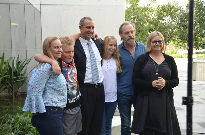 Nicolle, Ky, William and Jorja Greenwood with Hugo Weaving and his partner, William's sister Katrina Greenwood.