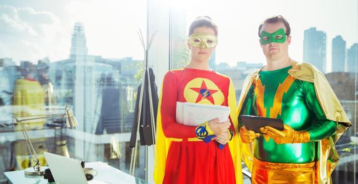superheros in an office building