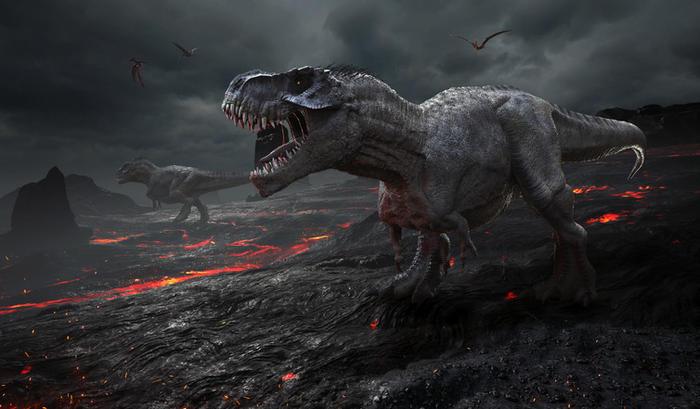 dinosaurs in lava