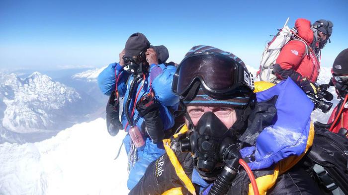 Neill Johanson at the summit of Everest, 2009.