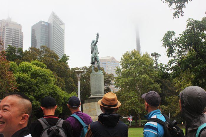 "French tells participants the area around the Captain Cook statue in Hyde Park became a beat because, ""well... just look at it from this angle""."