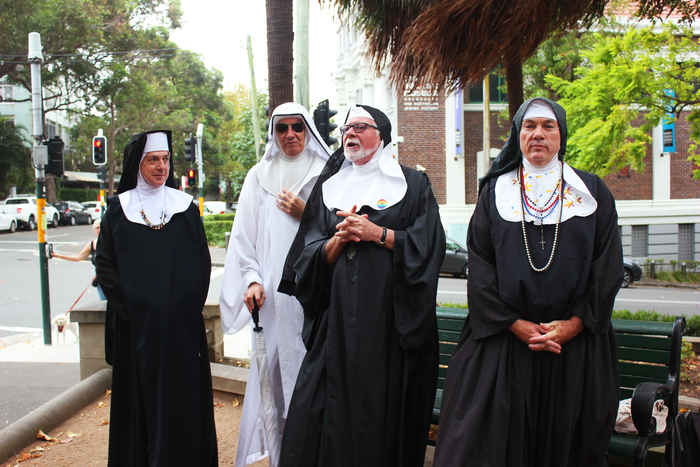 Four Sisters of Perpetual Indulgence met a crowd of nearly 40 people in Green Park in Darlinghurst, which was once one of the busiest beats in Sydney.