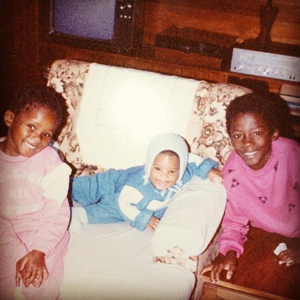 Pedzi with his older sister and brother in Zimbabwe