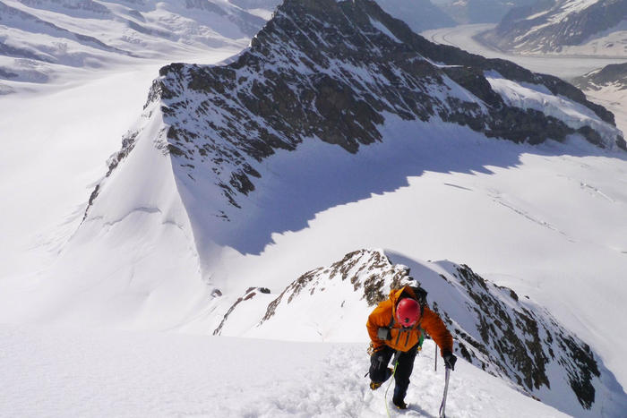Neill Johanson training for the Antarctica summit in the French Alps.