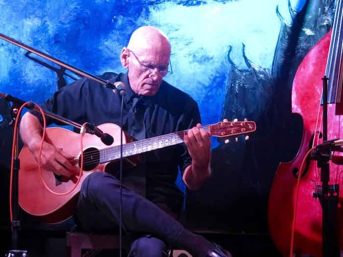 Australian-born Chris Minko on guitar as part of the jazz band, Krom.