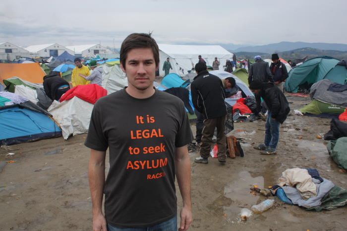 Humanitarian worker, Evan Davies, at a refugee camp in Greece in early 2016.